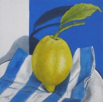 """""""Lemon on Blue"""" original fine art by Pera Schillings"""