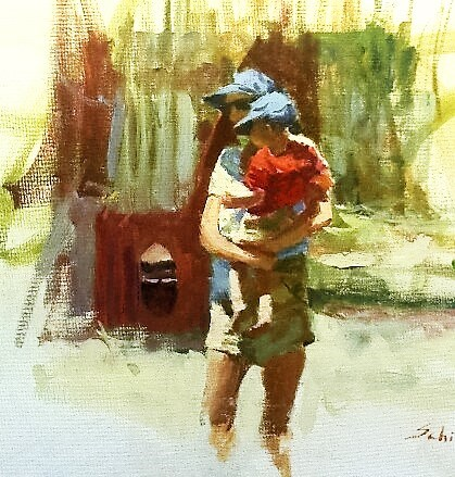 """mother and son 2"" original fine art by Richard Schiele"