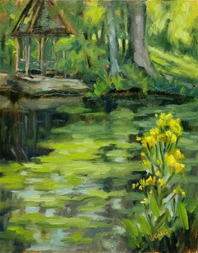 """""""Duckweed and wildflowers-en plein air"""" original fine art by Veronica Brown"""