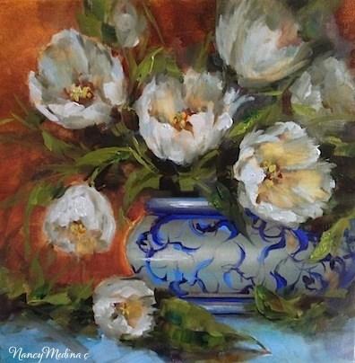 """Crescent Moon White Tulips by Texas Flower Artist Nancy Medina"" original fine art by Nancy Medina"