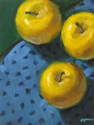 """Golden Apples --- SOLD"" original fine art by Carol Marine"