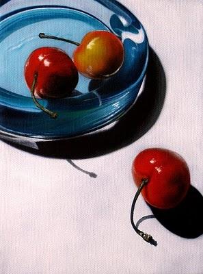 """""""Three Cherries"""" original fine art by Jelaine Faunce"""