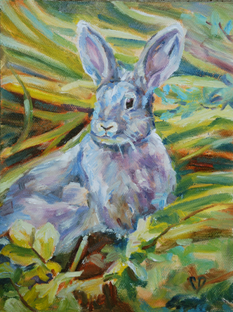 """Celebration Bunny"" original fine art by Carol DeMumbrum"