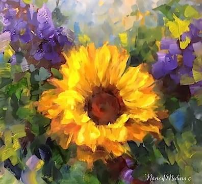 """Step by Step Sunflower Painting ~ Winters End by Floral Artist Nancy Medina"" original fine art by Nancy Medina"