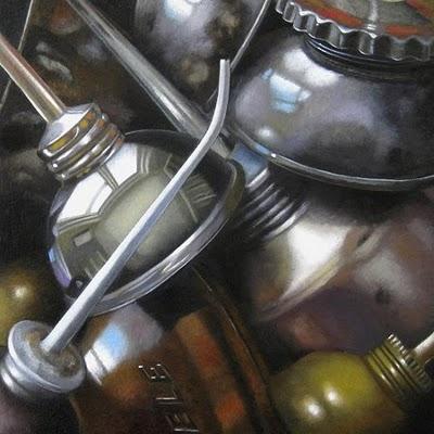 """Finds No.3 -- Oil Cans"" original fine art by M Collier"