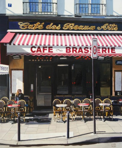 """""""Cafe des Beaux Arts"""" original fine art by Andre Beaulieu"""