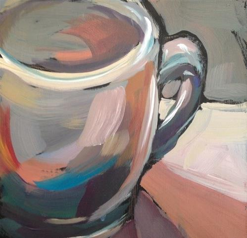 """Green Ceramic Art Colony Mug"" original fine art by Kat Corrigan"