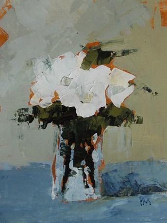 """White Floral"" original fine art by Pamela Munger"