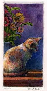 """Monotype: Dozing"" original fine art by Belinda Del Pesco"