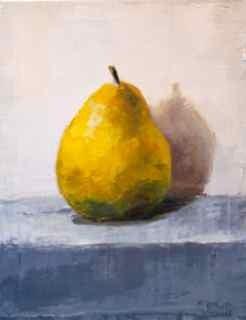 """Golden Pear on Gray"" original fine art by Christina Dowdy"