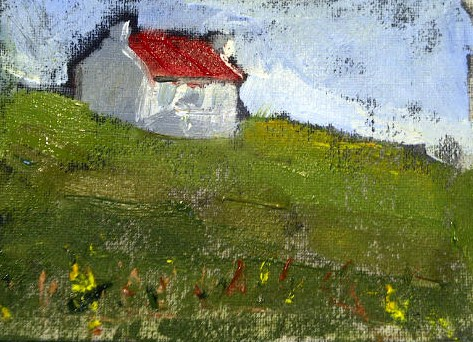 """""""Little Red Roof Cottage"""" original fine art by Marcia Hodges"""