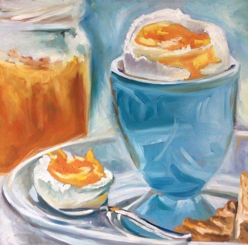 """Breakfast egg"" original fine art by Sonja Neumann"