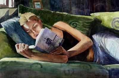 """Watercolor: Good Book (and a painting by Carol Marine)"" original fine art by Belinda Del Pesco"