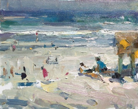 """""""END of series. Painting in California 26 Sunny beach II (sold)"""" original fine art by Roos Schuring"""