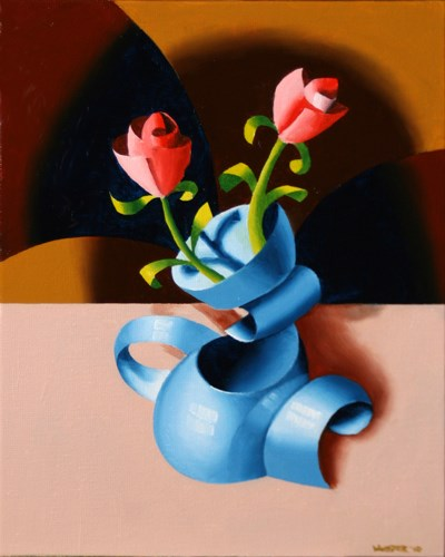 """""""Mark Webster - Futurist Roses in Vase - Abstract Geometric Oil Painting"""" original fine art by Mark Webster"""