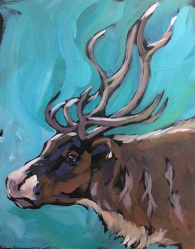 """A Caribou"" original fine art by Kat Corrigan"