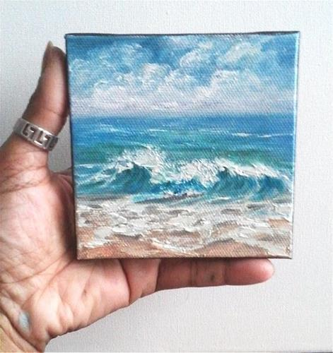 """Beach Waves Sea Ocean Seascape"" original fine art by Camille Morgan"
