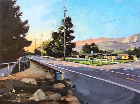 """Foothill Road, Sunset"" original fine art by Sharon Schock"