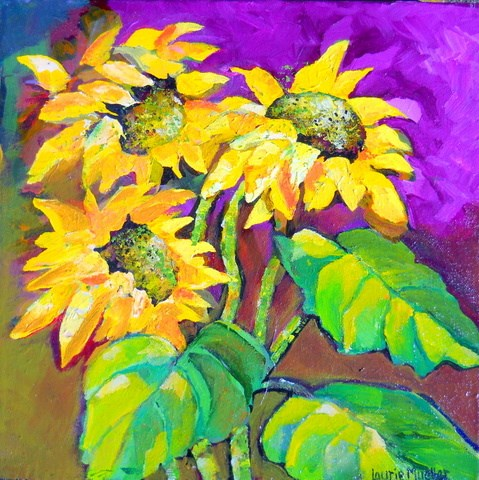 """Blowing Sunflowers"" original fine art by Laurie Mueller"
