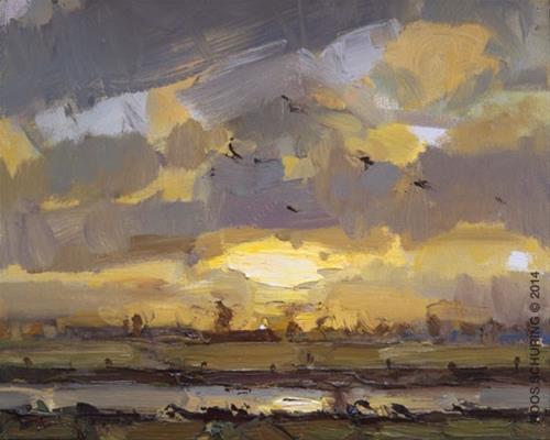 """Morning sun in Winter"" original fine art by Roos Schuring"
