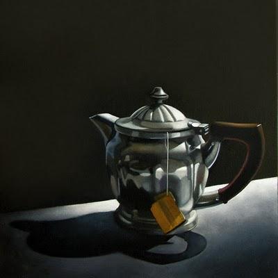 """Tea For One  6x6"" original fine art by M Collier"