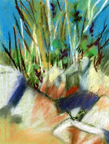 """Bay Side Rocks"" original fine art by Donna Crosby"