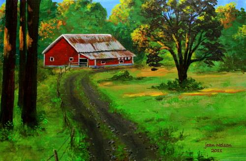 """Red Barn"" original fine art by Jean Nelson"