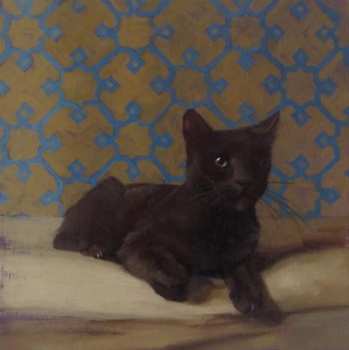 """The Diplomat, Coco kitty returns!"" original fine art by Diane Hoeptner"