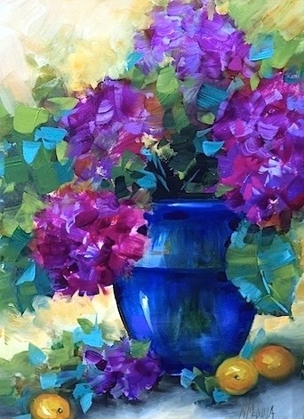 """A New Hydrangea Video and Violet Horizons - Flower Paintings by Nancy Medina"" original fine art by Nancy Medina"