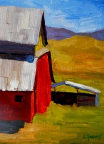 """""""Red Barn and Horse Shed"""" original fine art by Liz Zornes"""