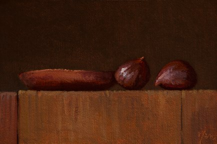 """Two Chestnuts & Copper Plate - 24-hour auction"" original fine art by Abbey Ryan"