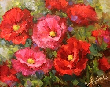 """""""Early to Rise Pink and Red Poppies of the Hill Country by Texas Flower Artist Nancy Medina"""" original fine art by Nancy Medina"""
