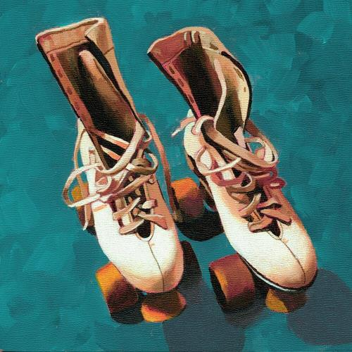 """Old School Roller Skates painting"" original fine art by Ria Hills"