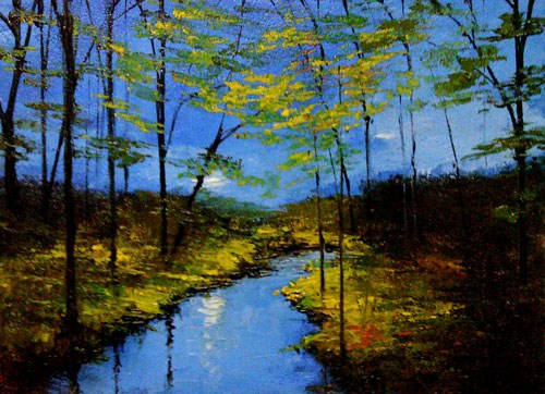 """The River at Dawn"" original fine art by Bob Kimball"