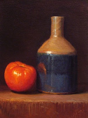 """""""Still Life with Red Tomato and Bottle - available"""" original fine art by Abbey Ryan"""
