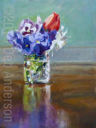 """Oil Painting: Pansy Bouquet"" original fine art by Deb Anderson"