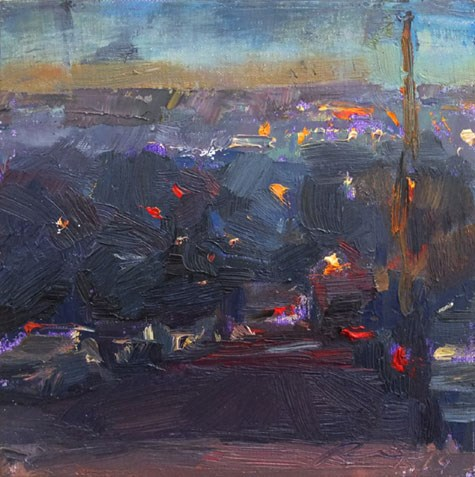 """""""Cityscape  California 19 (sold)"""" original fine art by Roos Schuring"""