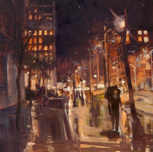 """""""Late Night  Seattle cLate Night  ityscape, oil painting by Robin Weiss"""" original fine art by Robin Weiss"""
