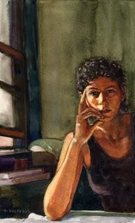 """Watercolor: In the Studio"" original fine art by Belinda Del Pesco"
