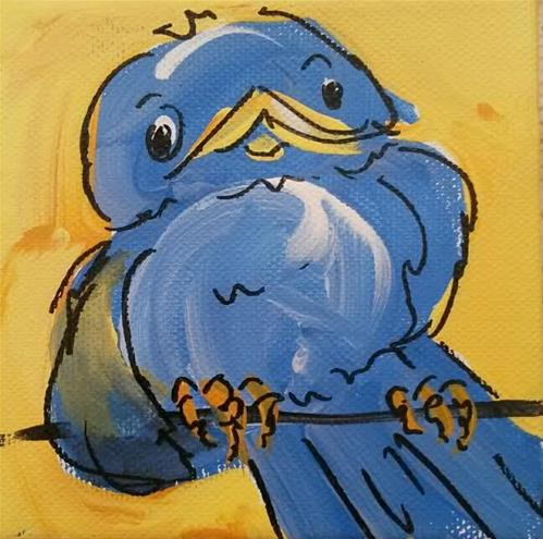"""Chunky Bluebird"" original fine art by Terri Einer"