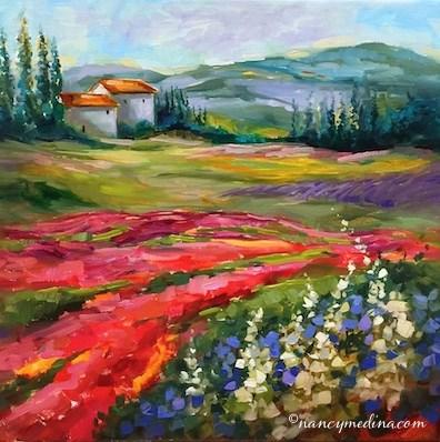 """Little French Houses - Flower and Landscape Paintings by Nancy Medina Art"" original fine art by Nancy Medina"