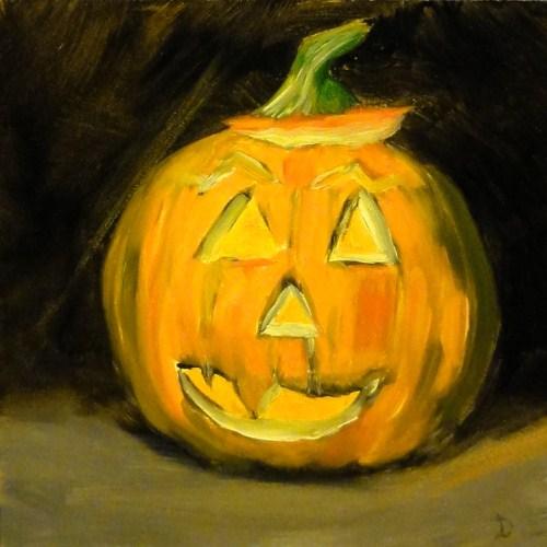 """""""Our First Pumpkin"""" original fine art by Dalan Wells"""