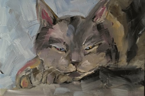 """""""Cat"""" original fine art by Gigi ."""