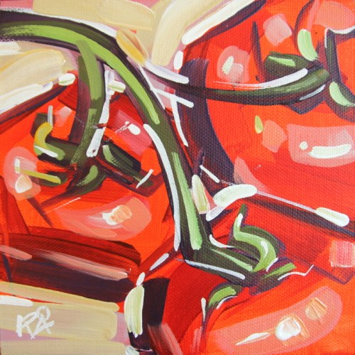 """Playful Tomato Abstraction 1"" original fine art by Roger Akesson"