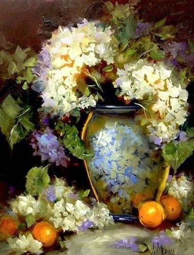 """""""Violet Dreams White Hydrangeas and a North Texas Workshop by Nancy Medina"""" original fine art by Nancy Medina"""