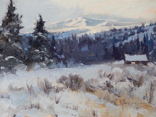 """Echo Valley Cabin #3  winter landscape painting by Robin Weiss"" original fine art by Robin Weiss"