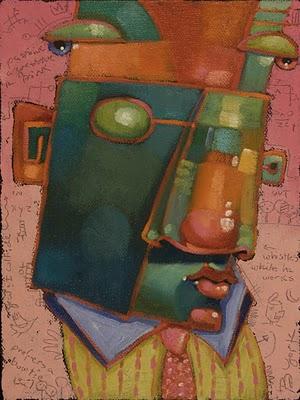 """Guys In Ties #8, Whistles While He Works"" original fine art by Brenda York"