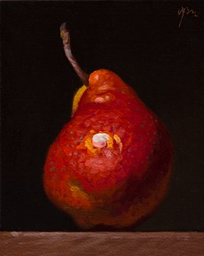 """""""Red Pear  (+ Mary Oliver on What Attention Really Means)"""" original fine art by Abbey Ryan"""