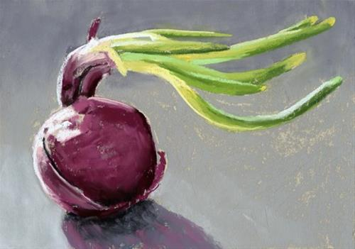 """""""Red Onion pastel painting"""" original fine art by Ria Hills"""