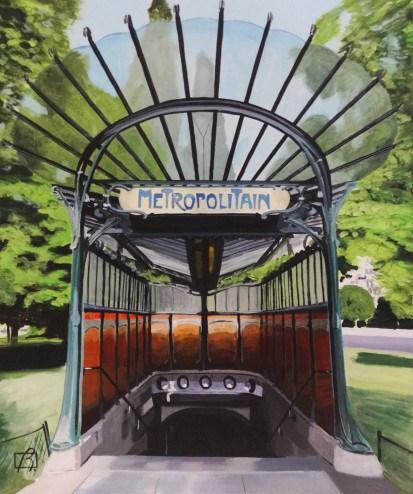 """Metro Porte Dauphine"" original fine art by Andre Beaulieu"